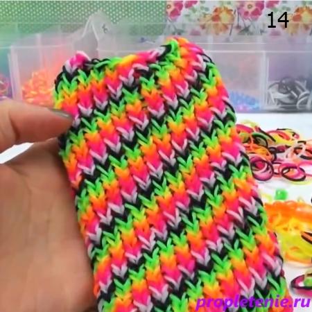 Плетение чехла из резинок для смартфона