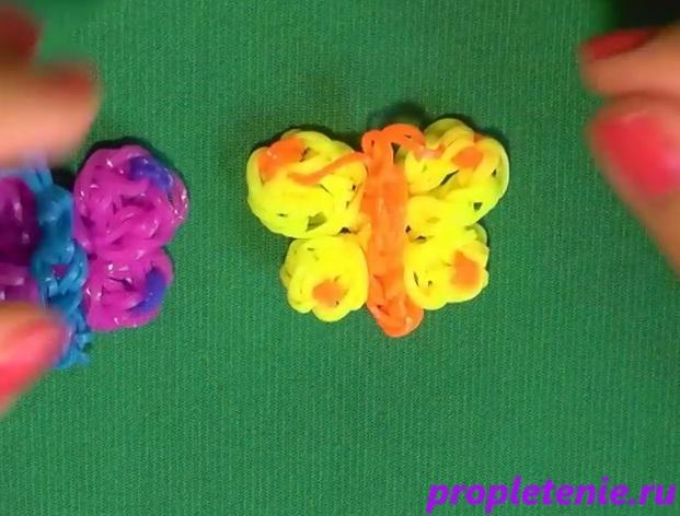 плетение бабочки на крючках