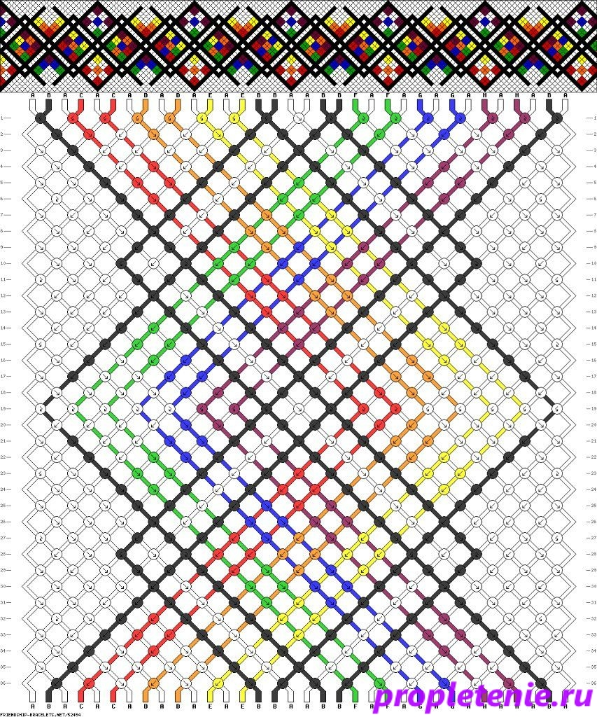 Схема плетения фенечки.