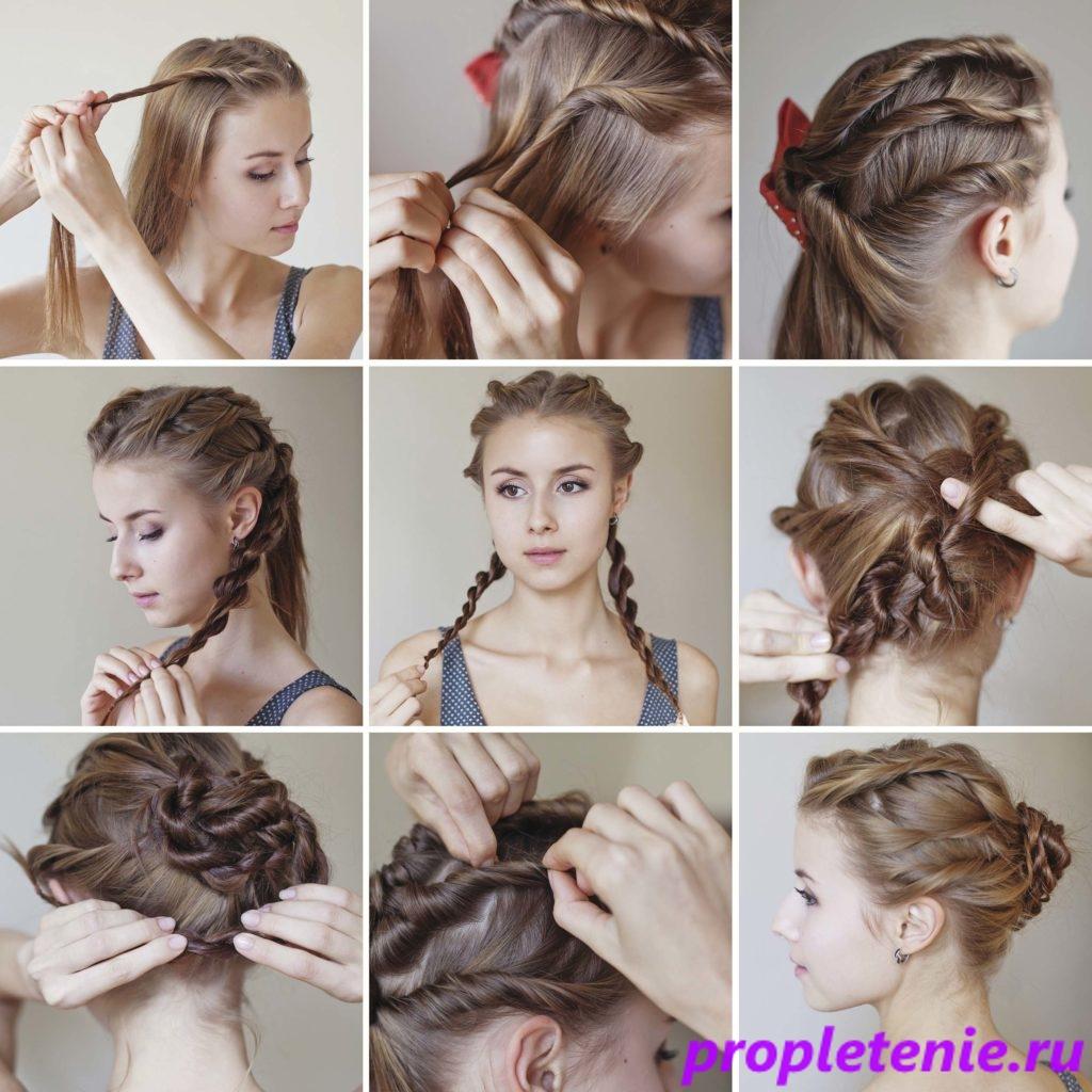 Техника плетения косы-жгут.